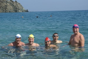 L to R: Lennart, Johnny, Jai, Tomas Terry, following our synch-swim.