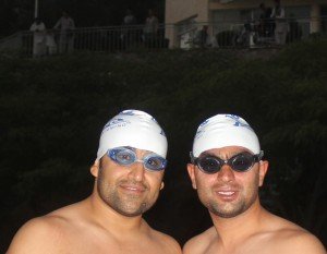 Eid (L) and Ehsan proudly wearing TI caps