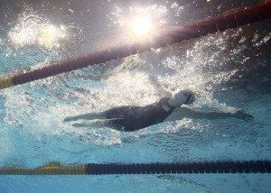 Katie Ledecky of the U.S. is seen underwater as she swims in the women's 800m freestyle final during the World Swimming Championships at the Sant Jordi arena in Barcelona